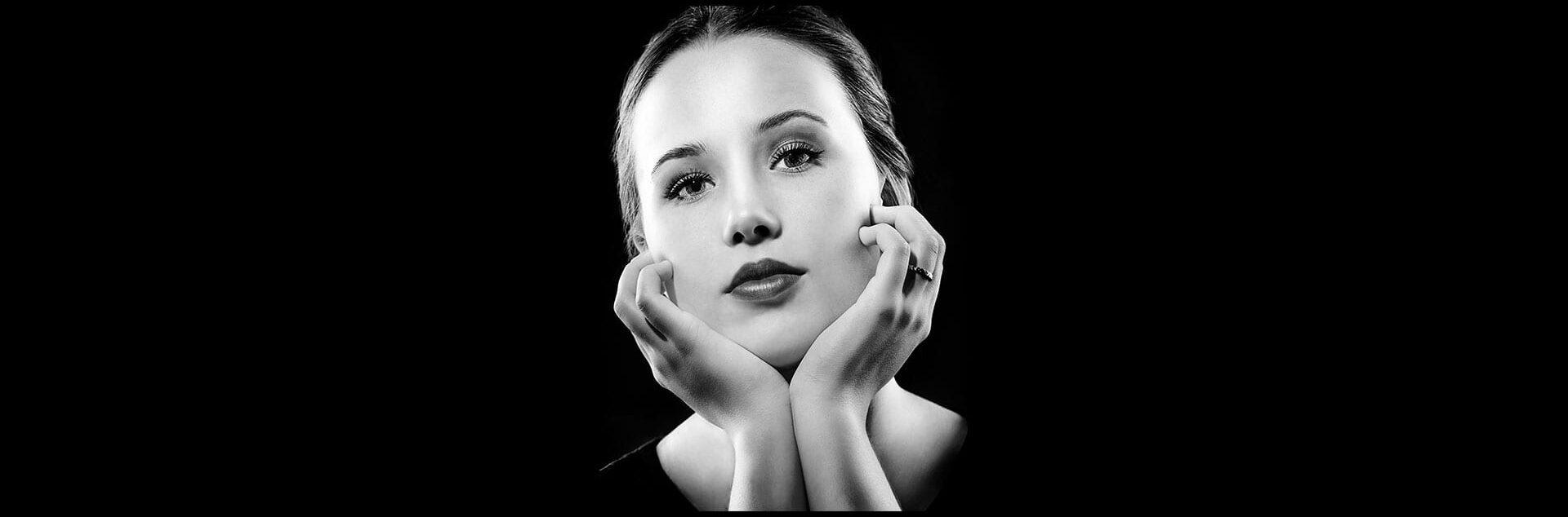 Portræt af kvinder sort hvid i Hollywood stil
